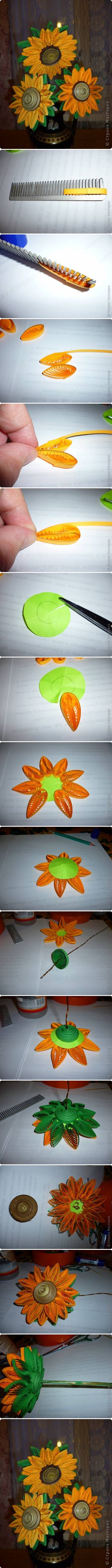How to make Quilling Sunflower step by step DIY tutorial instructions