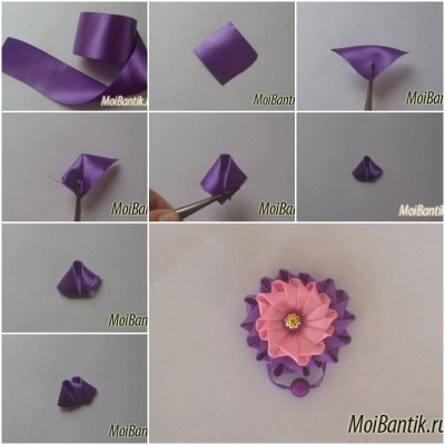 How to make Ribbon Button Flower step by step DIY tutorial instructions thumb