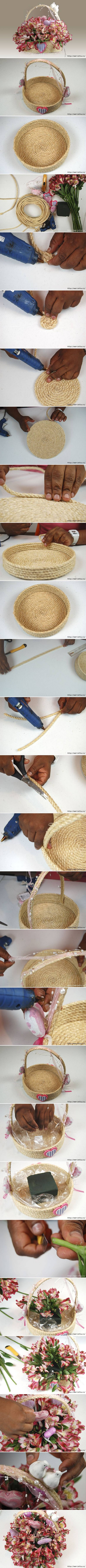 How to make Rope Gift Basket step by step DIY tutorial instructions