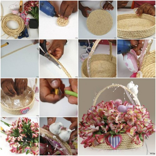 How to make Rope Gift Basket step by step DIY tutorial instructionst thumb