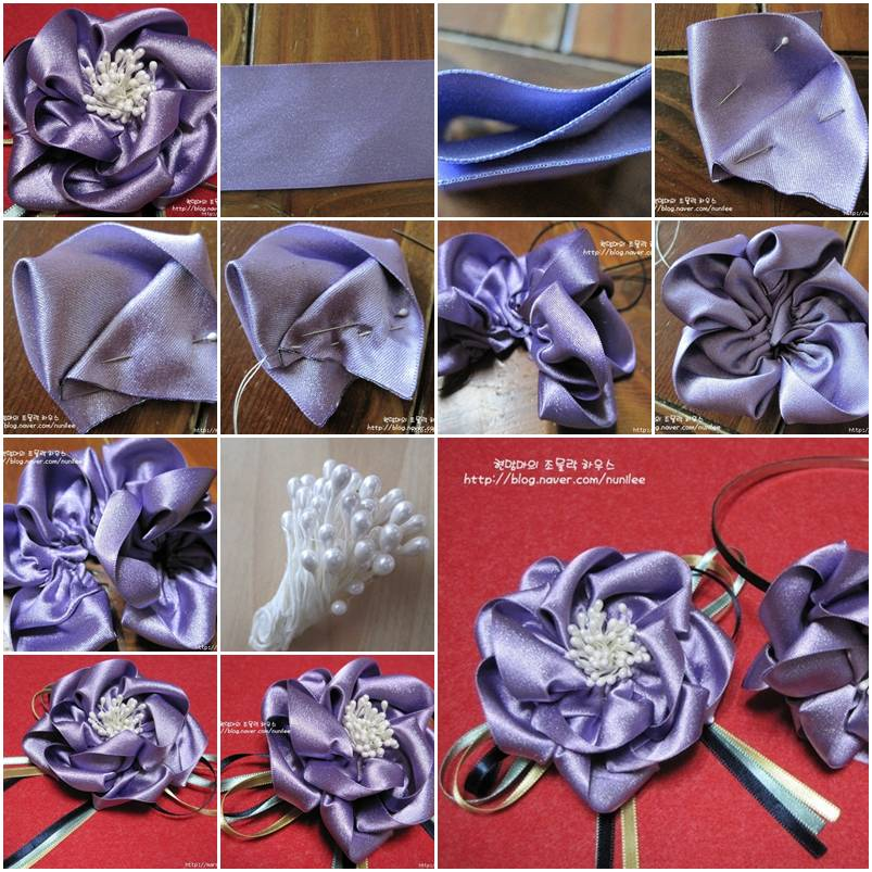 how to make ribbon flowers step by step simple