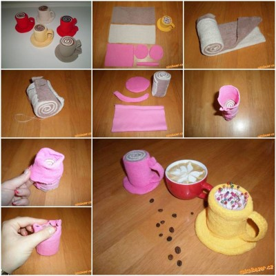 How to make Sew Cup Pincushion step by step DIY tutorial instructions thumb
