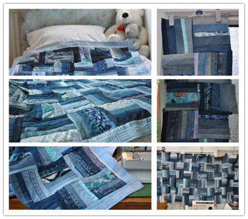 How to make Sew Denim Bedspread step by step DIY tutorial instructions