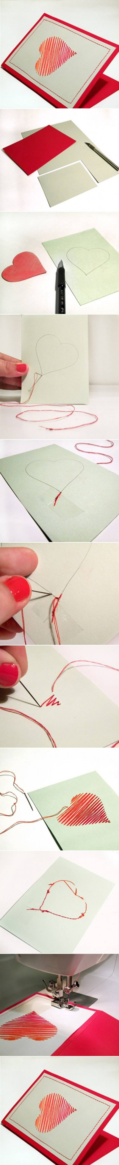 How to make Sew Heart Card step by step DIY tutorial instructions