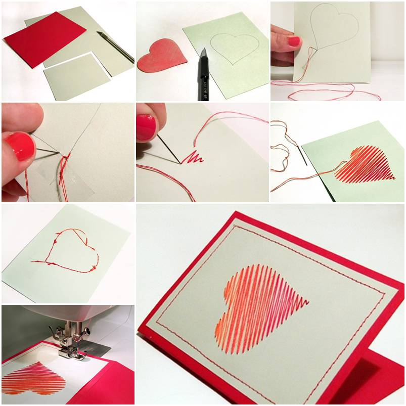How to make sew heart card step by step diy tutorial for Step by step to build a house yourself