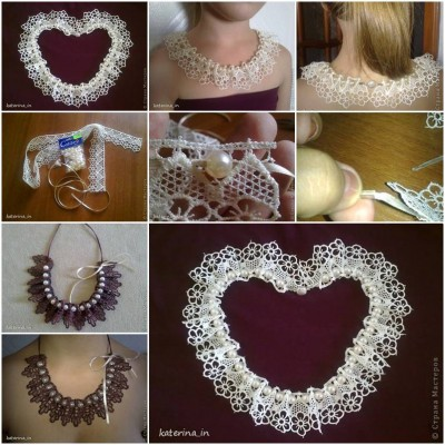 How to make Sew Lace Beads Collar step by step DIY tutorial instructions thumb
