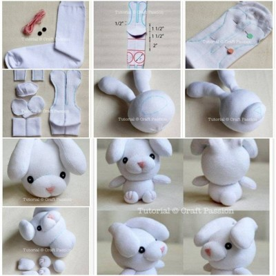 How to make Sew Sock Bunny step by step DIY tutorial instructions thumb