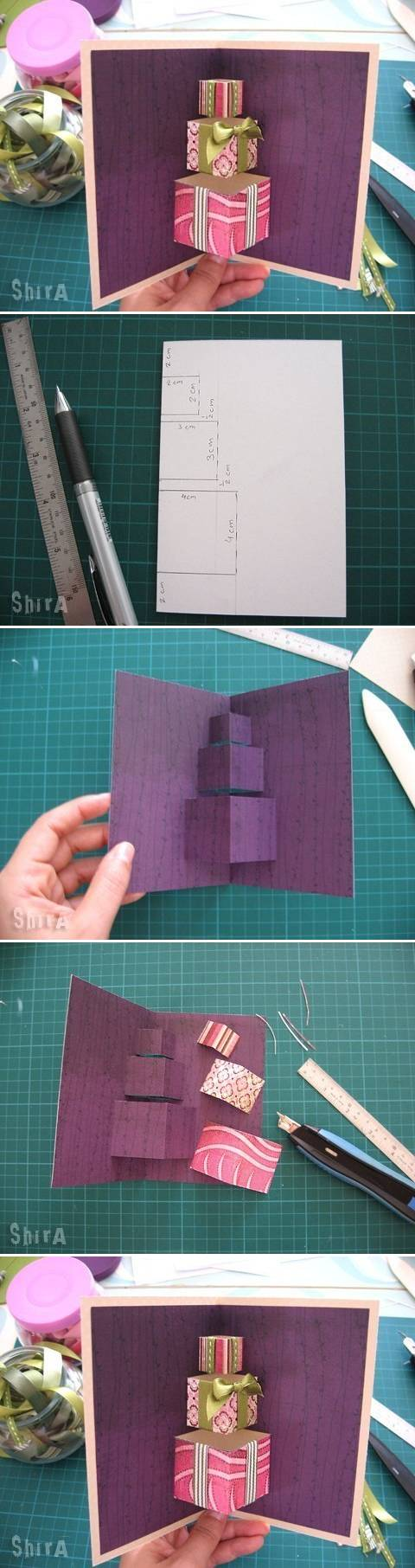 How to make Simple 3D Gift Card step by step DIY tutorial instructions