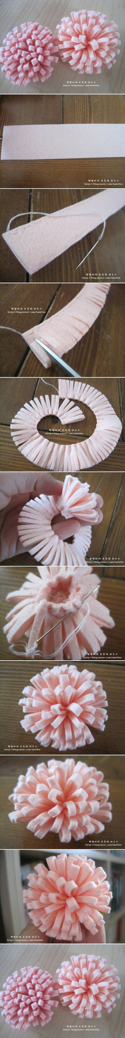 How to make Simple Easy Felt Flower step by step DIY tutorial instructions