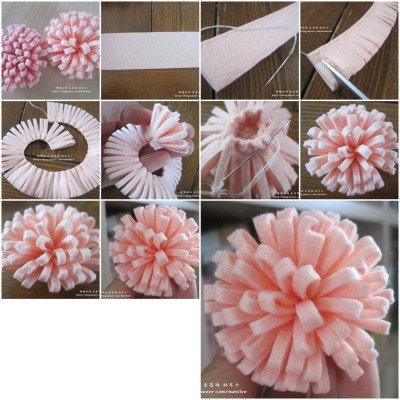 How to make simple easy felt flower step by step diy for How to make easy crafts step by step