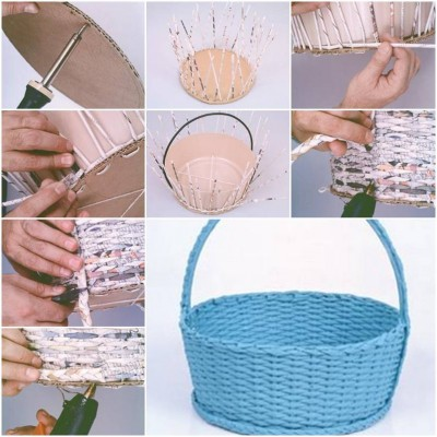 How to make Simple Newspaper Basket step by step DIY tutorial instructions thumb