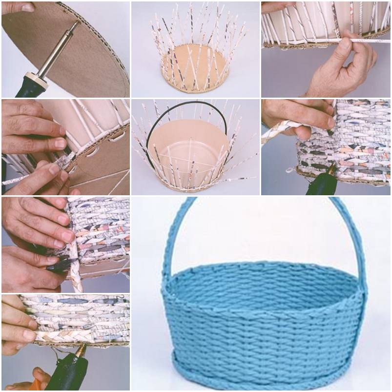 How to make simple newspaper basket step by step diy for How to make something with newspaper