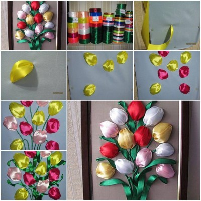How to make Simple Ribbon Tulip Flower step by step DIY tutorial instructions thumb