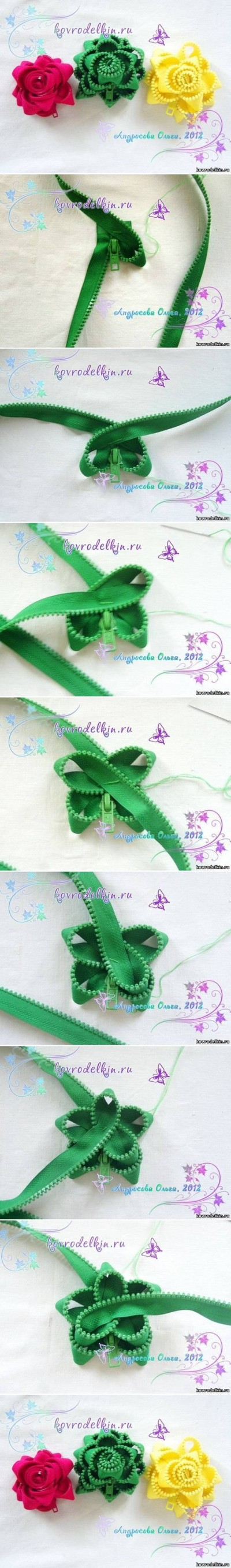 How to make Simple Zipper Flower Brooch step by step DIY tutorial instructions