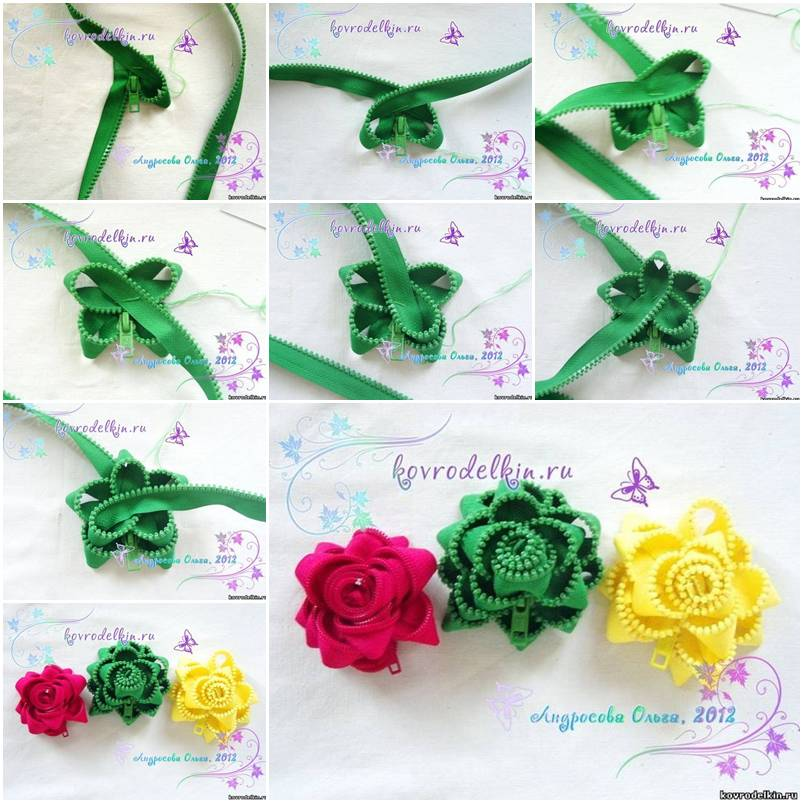 How to make simple zipper flower brooch step by step diy for Handmade flowers for decoration step by step