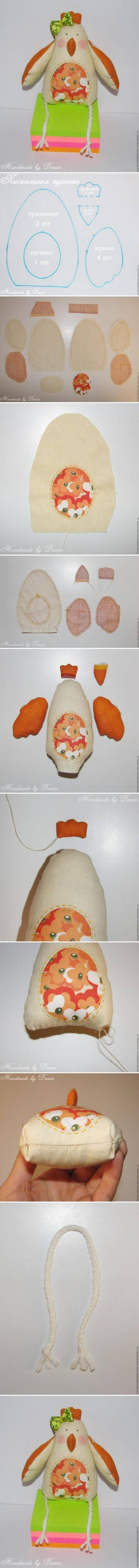 How to make Small Fabric Hen step by step DIY tutorial instructions