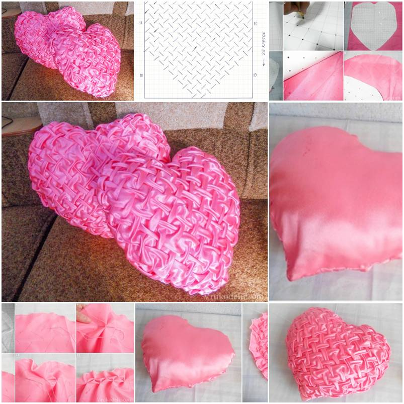 Pillow Making Instructions: How To Make Stylish Heart Pillow Step By Step DIY Tutorial