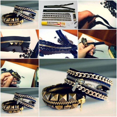 How to make Stylish Studded Bracelet step by step DIY tutorial instructions thumb