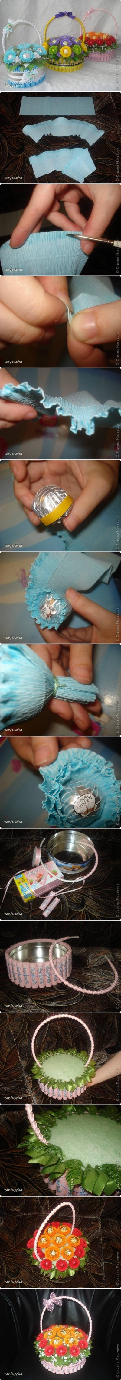 How to make Sweet Candy Basket step by step DIY tutorial instructions