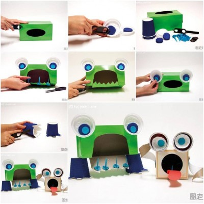 How to make Tissue Box Monster step by step DIY instructions thumb