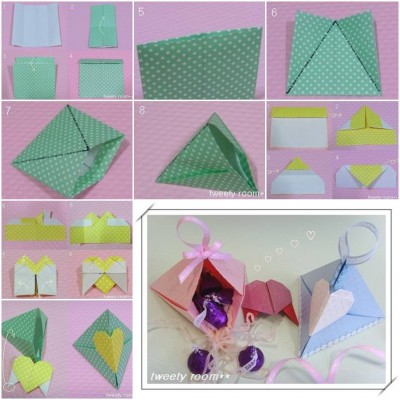 How to make Triangle Heart Lock Gift Box step by step DIY tutorial picture instructions thumb