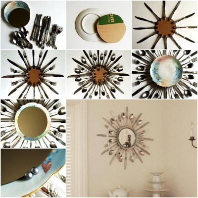 how to make utensils mirror frame step by step diy tutorial picture instructions thumb