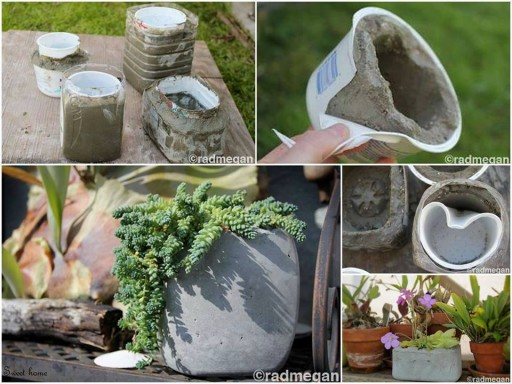 How to make Variety of Cement Planters step by step DIY tutorial picture instructions