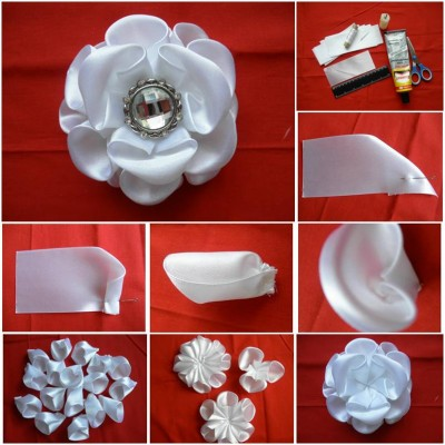 How to make White Kanzashi Rose from Cans step by step DIY tutorial picture instructions thumb