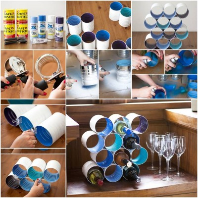 How to make Wine Bottle Stand from Cans step by step DIY tutorial picture instructions thumb
