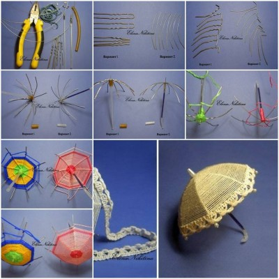 How to make Wire Small Umbrella step by step DIY tutorial picture instructions thumb