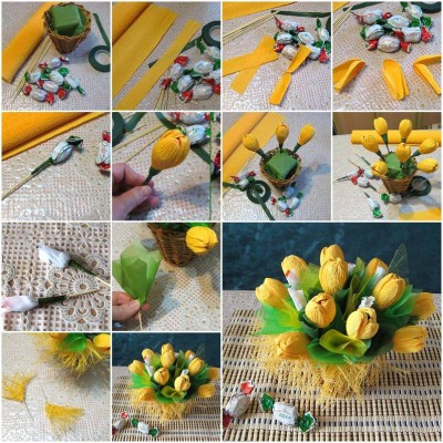 How to make Yellow Flower Candy Bouquet step by step DIY tutorial picture instructions thumb