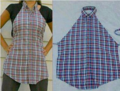 How to make apron from old shirts step by step DIY tutorial instructions