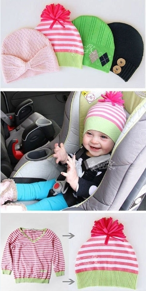 How to make baby hats with used cloth step by step DIY tutorial instructions thumb