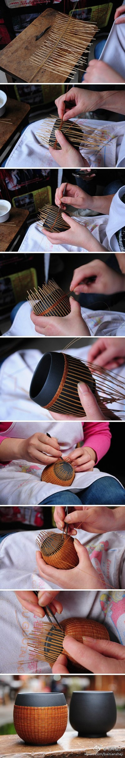 How to make bamboo tea cup cover step by step DIY tutorial picture instructions