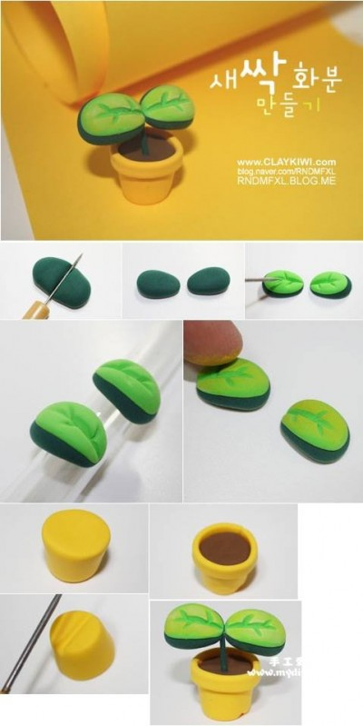 How to make bean sprout clay art step by step DIY tutorial instructions
