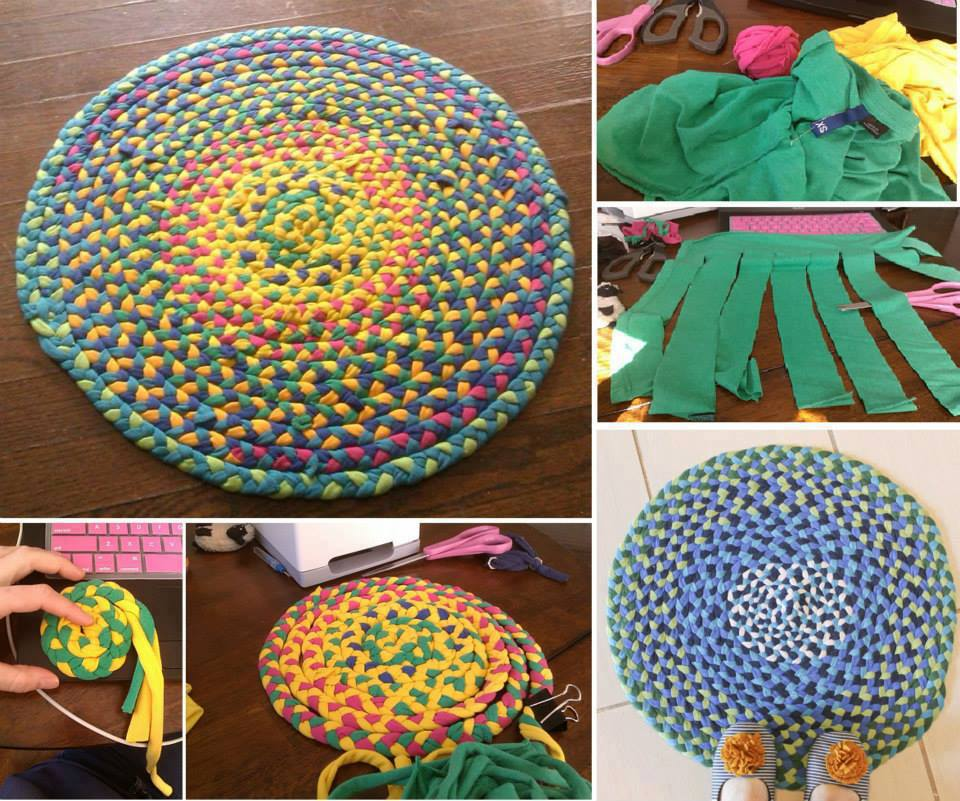 How To Make Beautiful Area Rug With Old T Shirts Step By