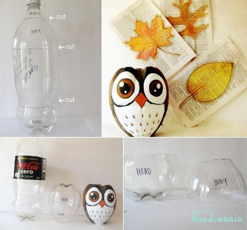 How to make beautiful owl with recyled coke bottle step by step DIY tutorial picture instructions