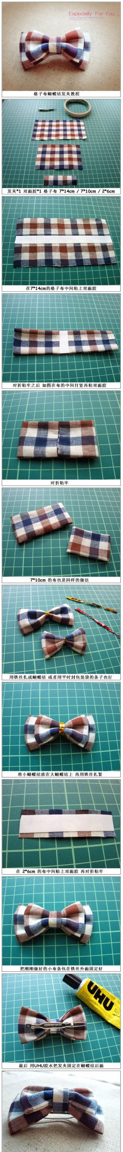How to make beautiful plaid hair pin step by step DIY tutorial instructions
