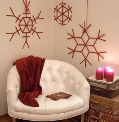 How to make beautiful snowflake wall decoration with used popsicle sticks step by step DIY tutorial picture instructions thumb