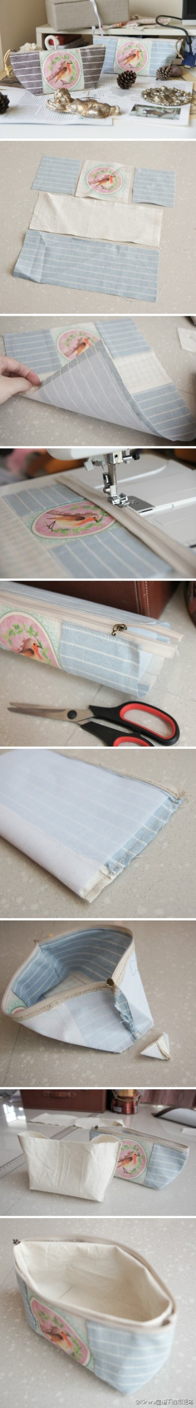 How to make cosmetic bag step by step DIY tutorial picture instructions