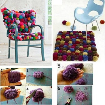 How to make cozy colorful pom pom chair step by step DIY tutorial instructions
