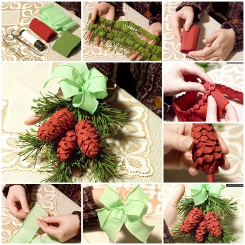 How to make crepes paper pine cone step by step DIY tutorial instructions thumb