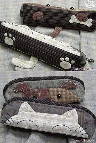 How to make kitten pencil bag step by step DIY tutorial instructions thumb