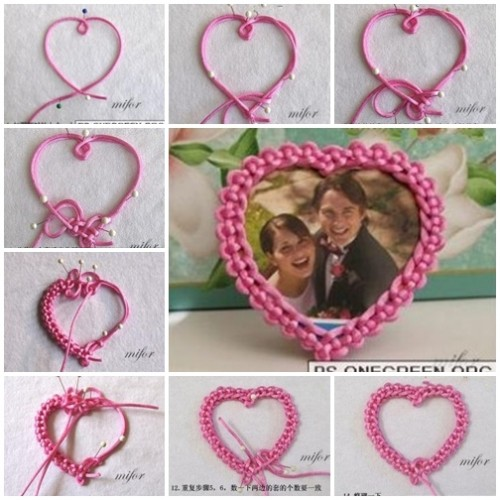 How to make lovely heart photo frame step by step DIY tutorial instructions thumb