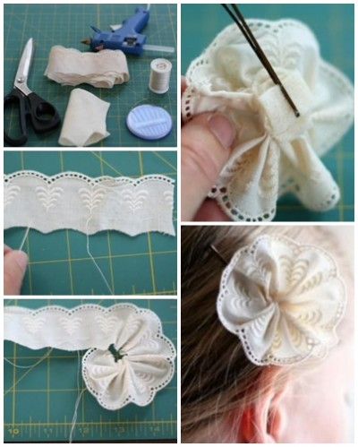 How to make lovely lace hair pin step by step DIY tutorial picture instructions thumb