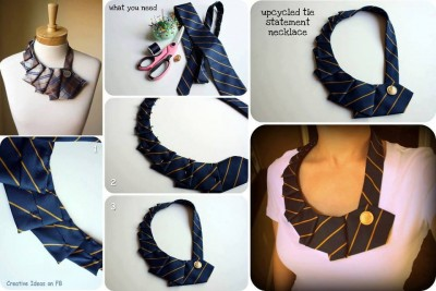 How to make lovely up cycled tie statement necklace step by step DIY tutorial instructions