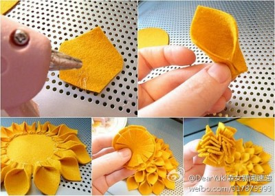 How to make lovely yellow flowers step by step DIY tutorial instructions