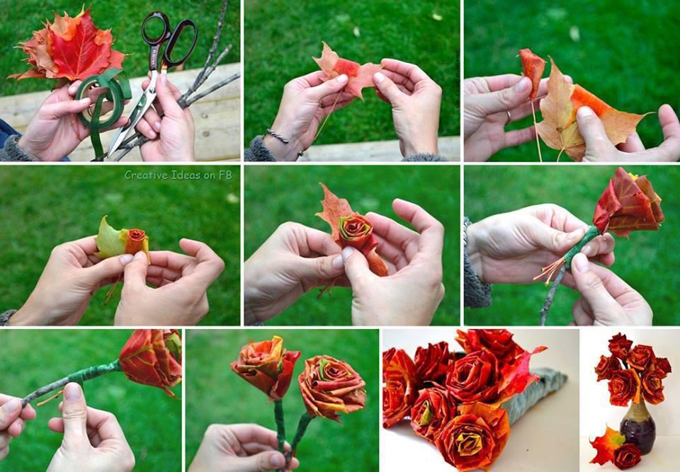 Как сделать розу из листьев бумаги