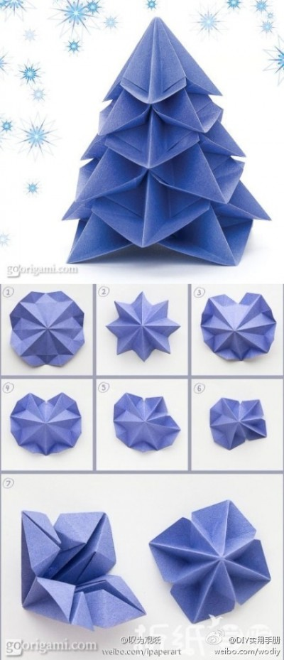 How to make paper craft origami christmas trees step by step DIY tutorial instructions