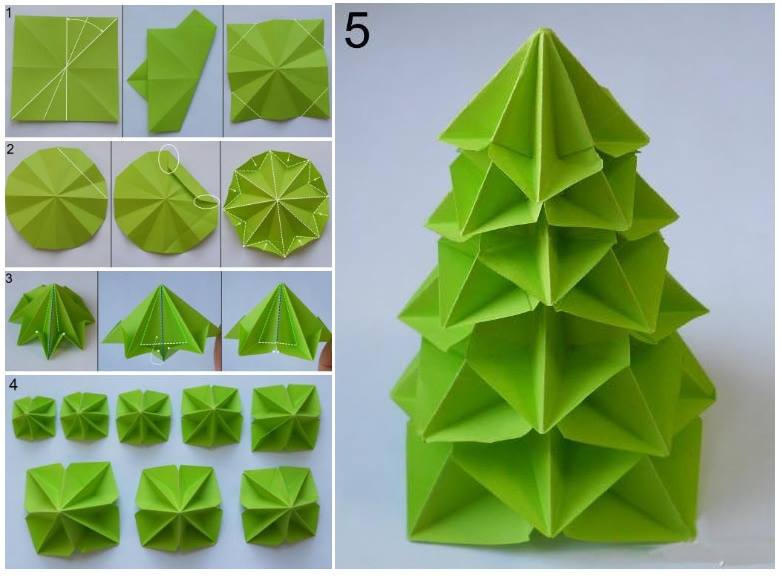 Christmas Tree How To Do : How to make paper craft origami tree step by diy
